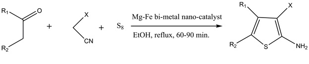 Magnesium-iron bimetal oxides as an effective magnetized solid-base catalyst for the synthesis of substituted 2-aminthiophenes